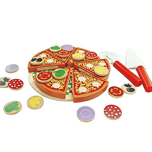 Timy Pizza Party Wooden Play Food Set Kids Toy