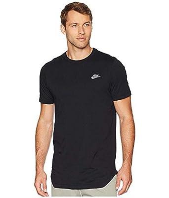 02b61ee6 Nike Men's NSW Tee Alt Hem Futura T-Shirt (Black/White, Large) at ...