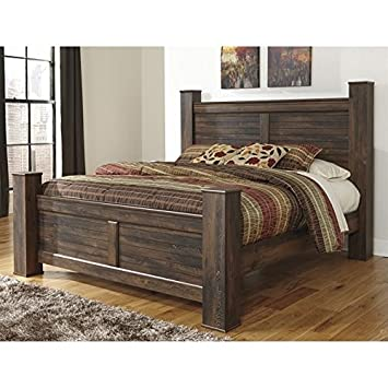 Ashley Quinden Wood King Poster Panel Bed in Dark Brown  Amazon com Ashley  Quinden Wood. Poster Brown Zinus Beds   makitaserviciopanama com