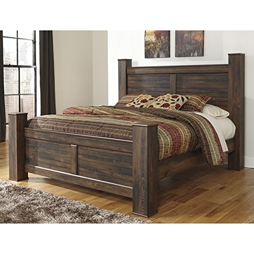 Ashley Quinden Wood Queen Poster Panel Bed in Dark Brown