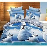 zhENfu Bedtoppings Comforter Duvet Quilt Cover 4pcs Set Queen Size Flat Sheet Pillowcase 3D Random Pattern Prints Microfiber Fabric