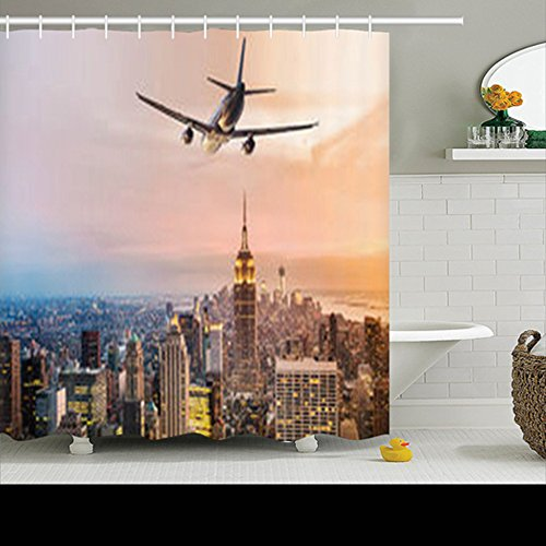 HomeCOO Design Travel Flight Destination New York City Jets Shower Curtains 72 By 72 Inches 100% Waterproof Mildew Resistant Polyester Fabric Bath Bathroom ()