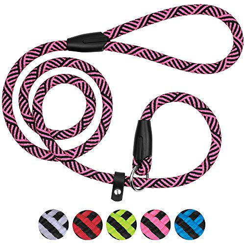 BronzeDog Dog Slip Lead 4ft Pet Rope Training Leash for Medium Large Dogs Black Blue Pink Grey Green Red (Pink)