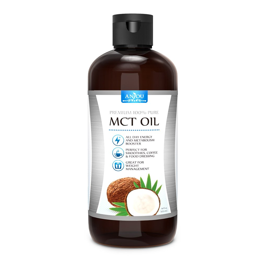 Anjou Premium MCT Oil 16 oz, C8 C10 Derived from Non-GMO Coconuts, Weight Management, Boost Metabolism, Sustain Energy, Keto, Paleo and Vegan Diet Approved, BPA Free Jar, Gluten Free