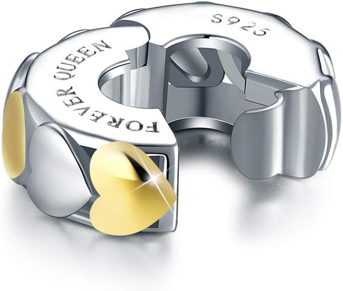 Cl/ásico Clip Stopper Charms Plata de Ley 925 Compatible con Pulsera FOREVER QUEEN Abalorios Charm de Coraz/ón de Espaciador