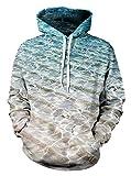 Unisex Simple Water Wave Printed Long Sleeves Sweatshirt Coat for Teenage Boys M