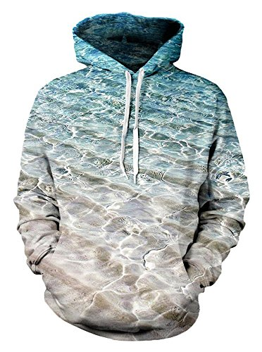 Unisex Simple Water Wave Printed Long Sleeves Sweatshirt Coat for Teenage Boys - Old Year 14 Boy Gifts