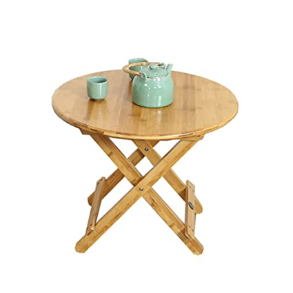 Folding Table Bamboo Collapsible Home Table Dinner Table Small Round Table  Portable Outdoor, (Table