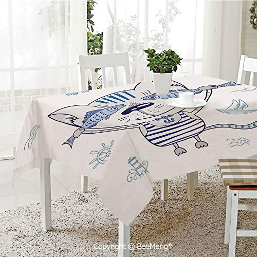 (BeeMeng Spring and Easter Dinner Tablecloth,Kitchen Table Decoration,Ocean Animal Decor,Naughty Cat with Fish in Striped T Shirt Anchor Pendant and Nautical Sign,Blue Grey,59 x 83 inches)