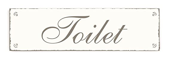 Placa decorativa, « Toilet » INTERLUXE - cartel de madera ...