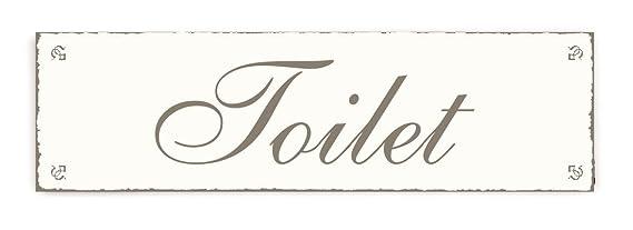 Placa decorativa, « Toilet » INTERLUXE - cartel de madera ...