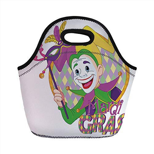 Portable Lunch Bag,Mardi Gras,Cartoon Design of Mardi Gras Jester Smiling and Holding a Mask Harlequin Figure Decorative,Multicolor,for Kids Adult Thermal Insulated Tote Bags]()