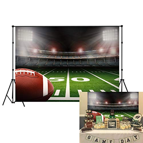 Football Field Background (LB American Football Super Bowl Backdrop for Photoshoot 7x5ft Vinyl Green Grass Rugby Sports Stadium Photo Booth Backdrop Kids Birthday Party Cake Table Decor)