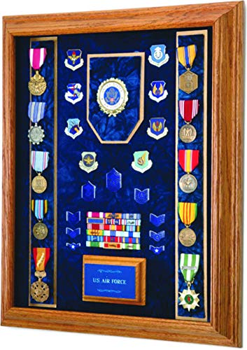 All-American-Gifts-Military-Medal-Display-Case-16×20-wall-mount-Shadow-box-Navy-emblemBlue-velvet