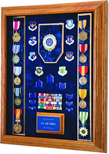 All-American-Gifts-Military-Award-Medal-Display-Case-16×20-Shadow-Box-USAF-EmblemBlue-Velvet