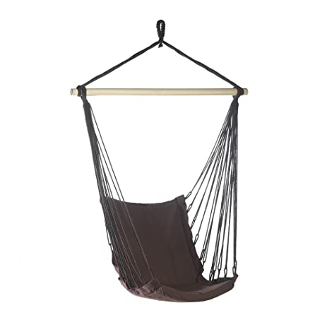 Captivating Espresso Brown Cotton Padded Swing Chair Hammock