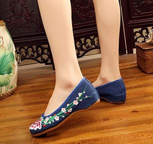 Moda Dimensione A Stoffa Suola Tendine Blu colore Denim Di Ricamate Fuxitoggo Stile Femminile Nell'aumento Comodo Casual Scarpe Etnico 41 BqwnvqSRx