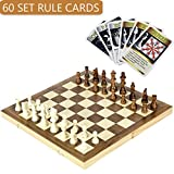 iBaseToy Folding Wooden Chess Set with 60 Game Rules Cards For Adults Kids Beginners Large Chess Board - 15'' x 15'' x 1""