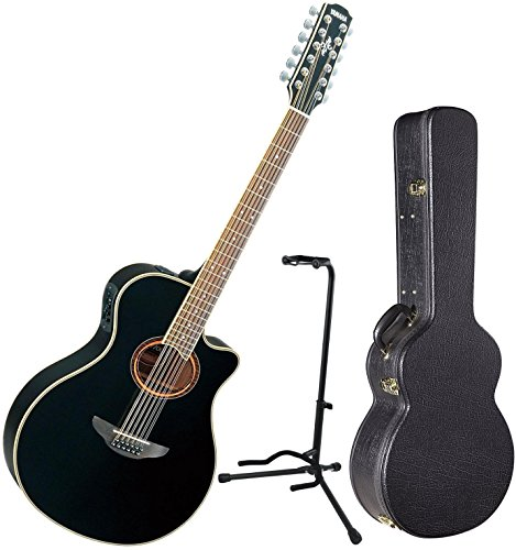 Yamaha APX700II 12 String Acoustic Electric Thinline Guitar Black w/ Hard Case and Stand (700 Series Guitar System)