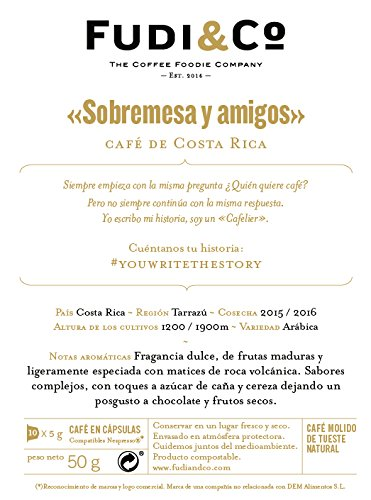 Fudi&Co - SOBREMESA Y AMIGOS - Café de Especialidad de Costa Rica - 4 Paquetes de 10 Cápsulas c/u Compatibles Nespresso ® - 100% Compostable: Amazon.es: ...