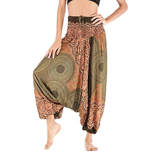 ANJUNIE Women Casual Loose Yoga Trousers Baggy Boho Aladdin Jumpsuit Harem Pants(Army Green,Free -