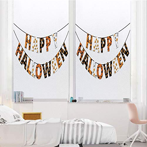 Halloween 3D No Glue Static Decorative Privacy Window Films, Happy Halloween Banner Greetings Pumpkins Skull Cross Bones Bats Pennant Decorative,17.7