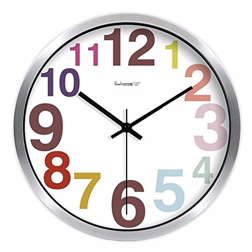 YSRHome Silent Non Ticking Vintage Modern Decorative Candy Round Number 10 Silver Wall Clocks for Living Room Bedroom Kitchen Office, Easy to Read