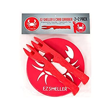 2 EZ-Sheller and 2 Crab Grabber Combined Pack for Crab Legs and Shellfish