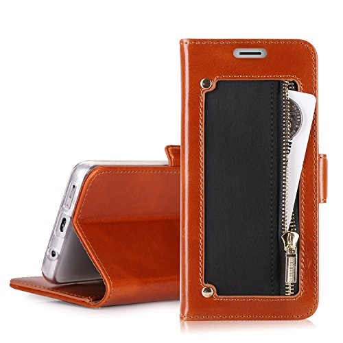 Galaxy S9 Case, Galaxy S9 Wallet Case, Homelove Premium Genuine Leather Wallet Case with [Zipper Coin Pocket] and [Kickstand Feature] for Samsung Galaxy S9