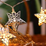 JMEXSUSS Battery Operated 21.3 Feet Silver Metal Iron Star 40 LED Fairy String Light for Bedroom, Lawn, Landscape, Fairy Garden, Home, Holiday, Christmas Tree, Party (Warm White) (40LED, Star)