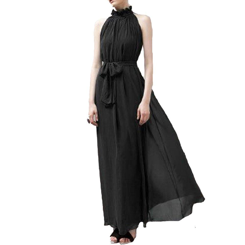 Elegant Chiffon Maxi Nymph Hang Neck Free Size black