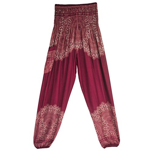 OOEOO Men Women High Waist Yoga Pants Thai Harem Boho Festival Hippy Smock Bohemia Trousers (Wine, Free Size) ()