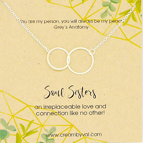 (Soul Sisters Interlocking Circle Sterling Silver Necklace - 17'' - 18'' Length)