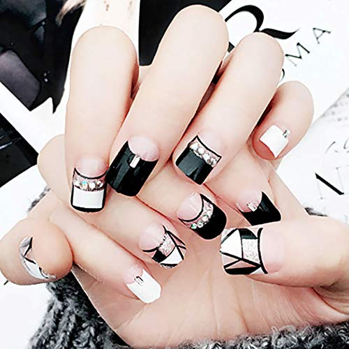 Barode False Nails Black White Geometric Lines Silver Sequins Bead Fake Nails Full Cover Fashion Party Acrylic Nails for Women and Girls ()
