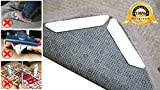 CASSY Rug Grippers 8pcs - Best Anti Curling Rug Gripper for Hardwood Floors. Keeps Rug in Place & Makes Corners Flat. Reusable and Washable. Premium Carpet Gripper. Non Slip Rug Pad.
