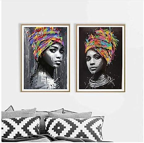 Canvas Painting Poster Print Art Picture Watercolor African Woman Portrait Decor
