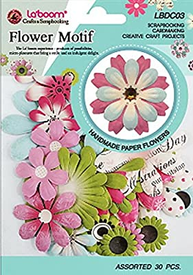 Laboom Handmade Paper Flower Embellishments for Scrapbooking and Crafts, Assorted Sizes and Colors