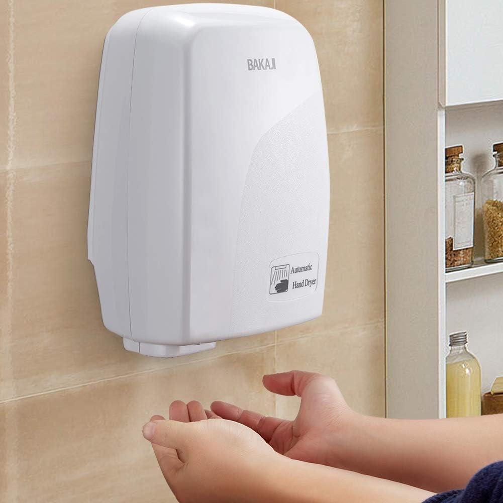 Bakaji - Secador de manos automático eléctrico - Ideal para hoteles, baños públicos - Secador de aire caliente de pared con sensor fotocélula - 1000W de potencia
