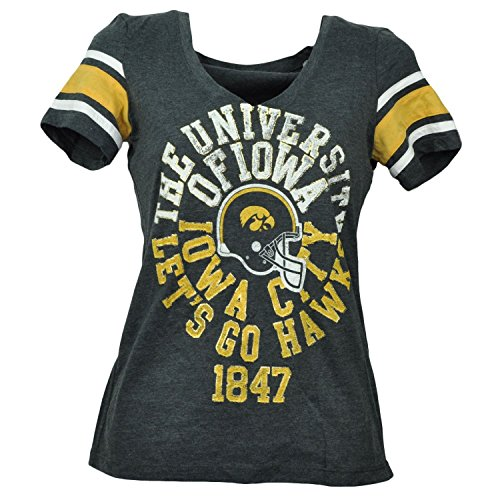 NCAA Iowa Hawkeyes V Neck Womens Tshirt Tee Charcoal Short Sleeve Sports XLarge (Hawk V-neck)