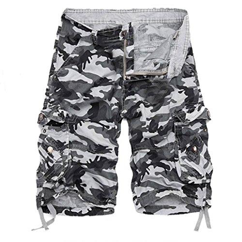 PASATO Fashion Mens, Casual PantsPocket Beach Work Casual Short Trouser Shorts (Gray,34) by PASATO