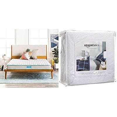 Linenspa 6 Inch Innerspring Mattress - Queen with AmazonBasics Hypoallergenic Vinyl-Free Waterproof Mattress Protector, Queen