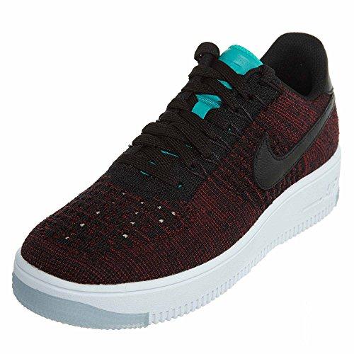 (Nike Womens AF1 Flyknit Low Black/Black Team Red Clr Jade Casual Shoe (7.5))