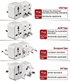 All-In-One Universal Travel Adapter, Detachable Power Plugs Fits Wall AC Adapter Outlets for USA EU UK AUS Worldwide, 3 Piece Set with Case, Compact Size and Lightweight, Fire-retarding