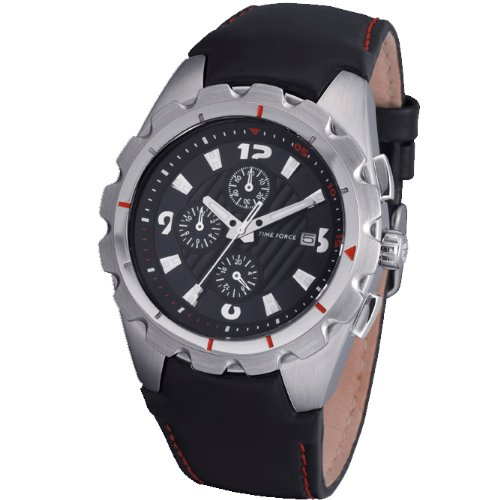 Reloj TIME FORCE de caballero Sumergible. Acero Correa de piel Crono y Calendario TF-3352M01: Amazon.es: Relojes