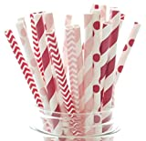 "Pack of 25 high quality paper drinking straws that measure 7.75"". These fun, retro-style polka dot, chevron, and striped pattern straws can easily turn any event into a fashionable one! Spice Up dessert tables, party favors and candy buffets ..."