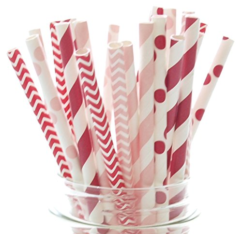 Valentines Straws, Red & Pink Wedding Straws (25 Pack) - Kids Valentine's Party Decorations, Valentines Day Supplies, Valentine's Favor Gifts ()