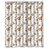 60x72 Inches Cute Small Animal Fox Rabbit Cat And Squirrel Shower Curtain Shower Rings Included Easy Choice by Small Pattern Shower Curtain