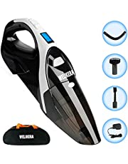 WELIKERA Handheld 12V 5000PA Portable, Strong Suction Rechargeable Cordless Vacuum Cleaner with Quick Charge Hand Held Vac for Home Car Pet Hair, Black