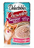 Delectables Chowder Senior 10 Years+ Lickable Wet Cat Treats - Tuna & Whitefish - 12 Pack