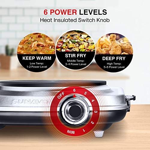 SUNAVO elektrische Kochplatte einzeln, 1500W Einzelkochplatte, 6 Leistungsstufen Mobile Herdplatte mit abnehmbare Griffe, edelstahl